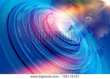 Graphical Modern Digital World News Studio Background Abstract Digital World with Digital Binary Code Numbers Background .