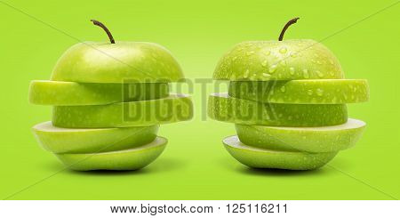The Set of Prefect Cleaned Green Apple Isolated on White Background in Full Depth of Field.