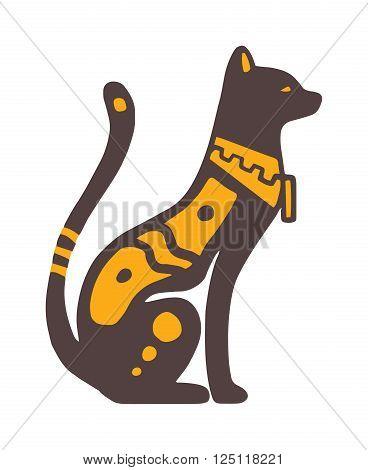 Egypt cat vector illustration. Egypt cat isolated on white background. Egypt cat vector icon illustration. Egypt cat isolated vector. Egypt cat silhouette