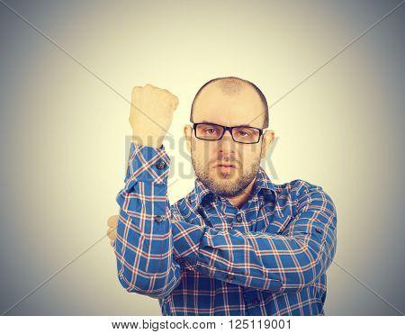 Man Fist Raised Menacing Threat. Emotions
