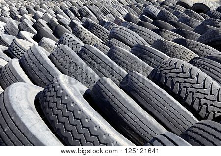 Tires In Rows For Industry Recycling