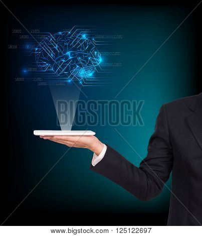 Close-upof business man brain with tablet in hand
