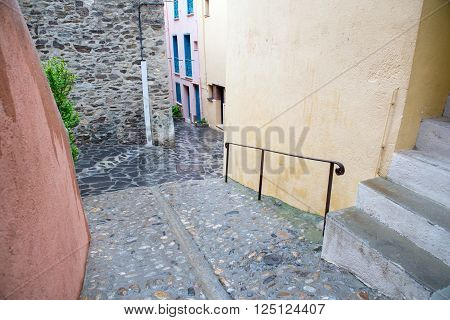 Collioure city and the small street in France