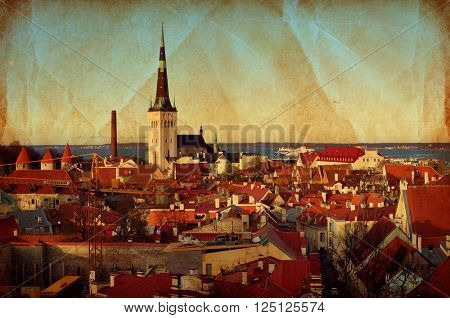 Tallinn, Estonia. Red roofs of Tallinn old town, vintage style panoramic landscape