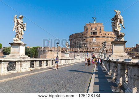 Tourists On Saint Angelo Bridge, Rome