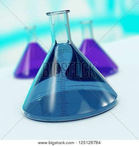 closeup view of an alembic with others alembics on background (3d render)
