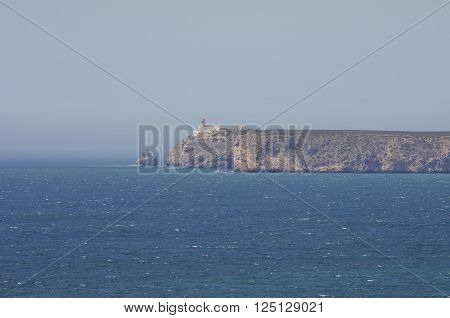 View Of The Lighthouse And Cliffs At Cape St. Vincent. Continental Europe's Most South-western Point