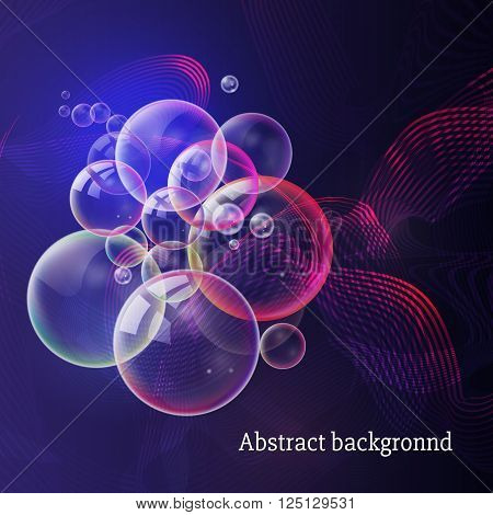 Soap party in a nightclub. Abstract blue purple background with glowing lines, glitter and bubbles vector. Abstract modern illustration