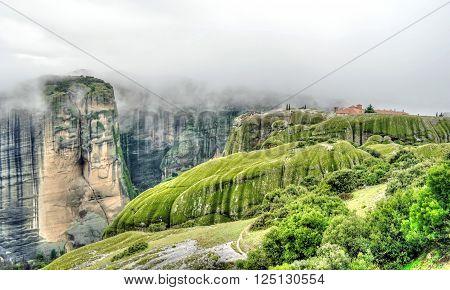 Greece. Fog and cloud. The scenic Meteora Rocks