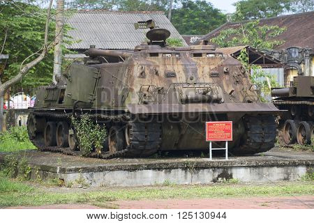 HUE, VIETNAM - JANUARY 08, 2016: American engineering tank during the Vietnam war in Hue. Historical landmark of the city Hue, Vietnam
