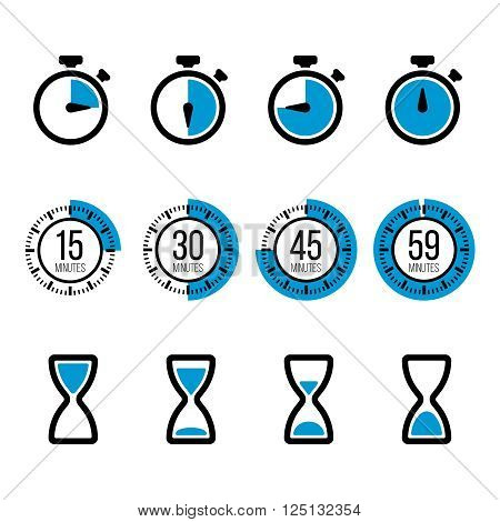 Timer icons. Vector isolated timers icons and stopwatch signs