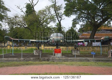 HUE, VIETNAM - JANUARY 08, 2016: Plane Cessna A-37 Dragonfly front view. The landmark of city Hue