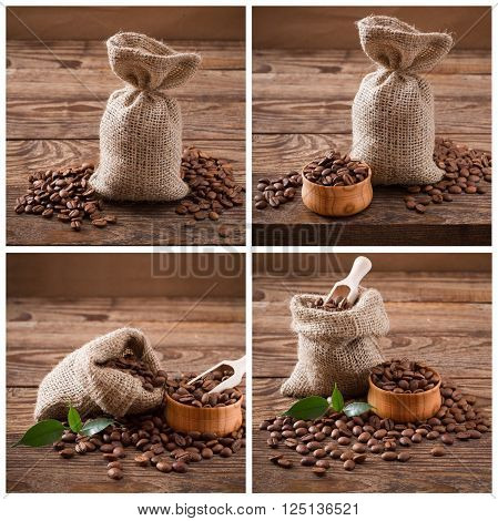Coffee beans on wood background, coffee beans in bag and green leaf. Coffee Collage top wiev.