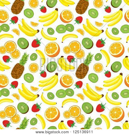 Multivitamin seamless background with whole pineapple, fresh green kiwi slices, strawberries, oranges and bananas. Vector illustration on white background