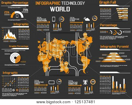 INFOGRAPHIC COLLECTION ELEMENT TECHNOLOGY WORLD ORANGE for web and other