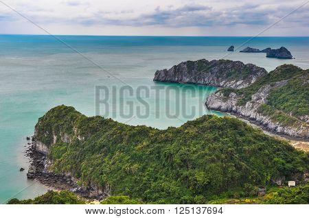 Scenic lagoon on the island of Cat Ba.