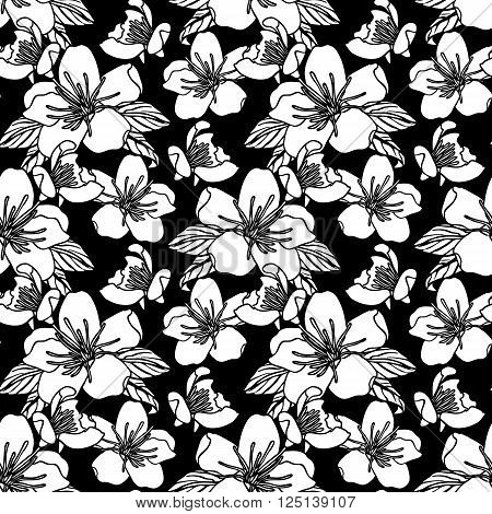 Monochrome Seamless pattern with flowers on black background. Stock Vector illustration