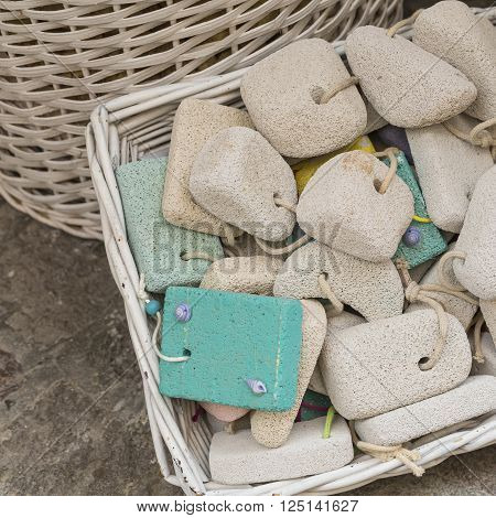 Pumice Stone In The Souvenir Shop, Colorful Pumice Stone, Different Colors Of Pumice Stone In Shop,h