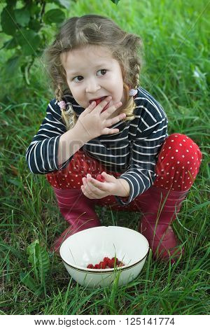 Little girl wearing red gumboots is taking ripe raspberries from white bowl to her mouth