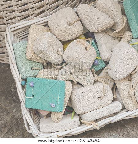 pumice stone in the souvenir shop colorful pumice stone Different colors of pumice stone in shophanging decoration in the souvenir shop Color stone pumice for scrub