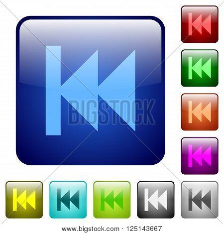 Set of color media fast backward glass web buttons.