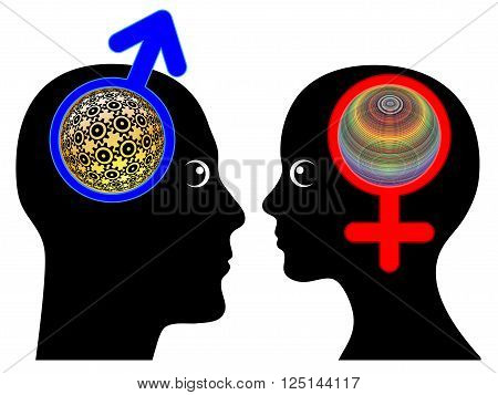 Male and Female Brains are different. Men and women tend to think in different ways, rationality versus intuition poster