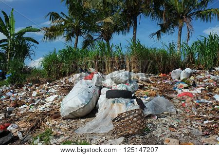 BALI, INDONESIA - April 10, 2016: Illegally-dumped garbage and plastic bags contaminate land at a waste-recycling center in Pejeng on April 10, 2016 in Ubud, Bali, Indonesia.