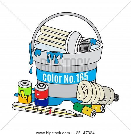 Used light bulbs batteries thermometer and paint. Electrical and dangerous waste. Waste management concept. Vector Illustration