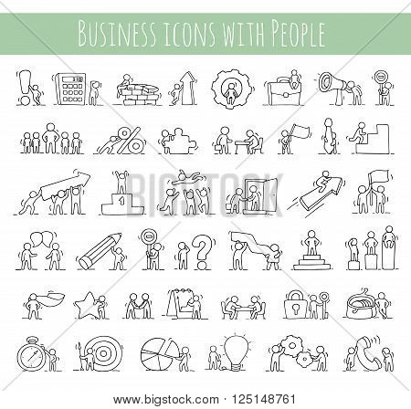 Business icons set of sketch working little people with money teamwork. Doodle cute miniature scenes of workers. Hand drawn cartoon vector illustration for business design and infographic.