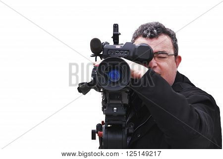 Professional videographer with camera in shooting process. isolated over white