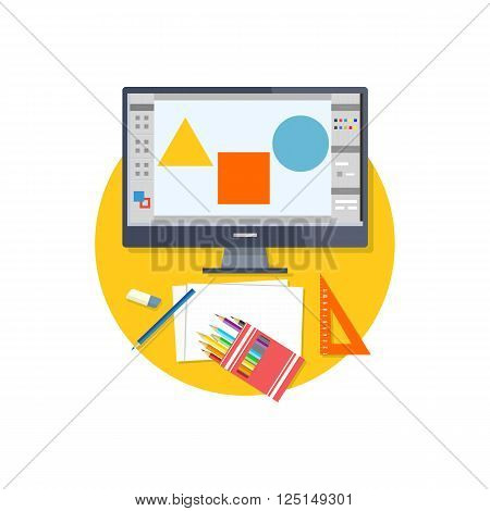 Design graphic work space flat. Graphic design workplace, technology and web design studio, graphic elements, computer drawing digital vector illustration. Tools for drawing near computer monitor