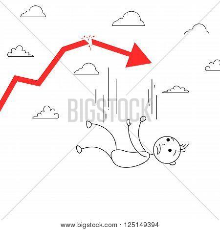 Cartoon stick man falling from the sky with a broken arrow