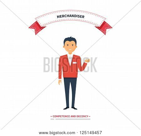 Merchandiser man competence and decency. Merchandiser decency and competence, marketing retail, shopping and promotion, merchandise man, guy merchandiser, business merchandiser store illustration