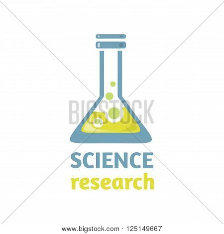 Science research logo design flat. Science and research, science experiment, science lab, technology science research, education chemistry and science research. medicine science research illustration