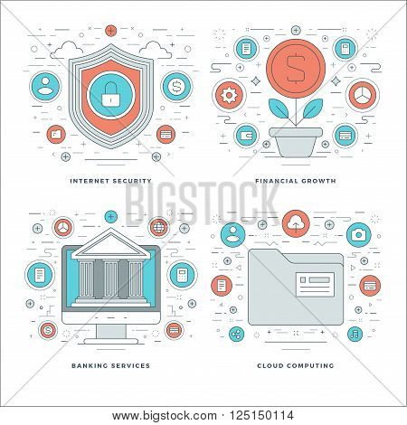 Flat Line Internet Security, Financial Growth, Banking Services, Business Concepts Set Vector Illust