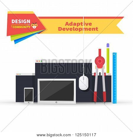 Adaptive development tablet and paint tools. Adaptive web development, website and technology, adaptive page device, tool mobile, drawing and monitor site, smartphone webpage, tablet illustration