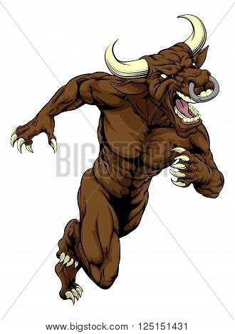 Bull Mascot Charging