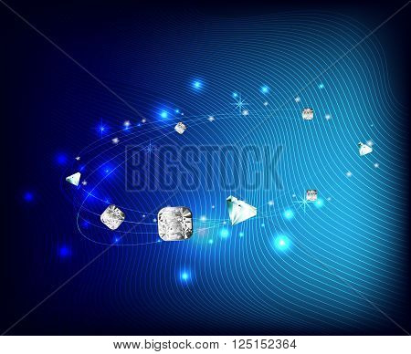 vector illustration jewelry with jemstone on blur background