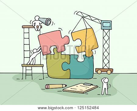 Sketch of working little people with puzzle teamwork. Doodle cute miniature scene of workers collect puzzle pieces. Hand drawn cartoon vector illustration for business design and infographic.