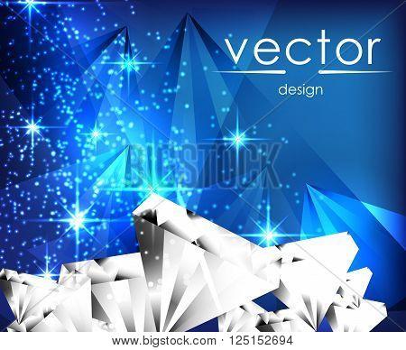 vector illustration sparkling jemstone on blue background