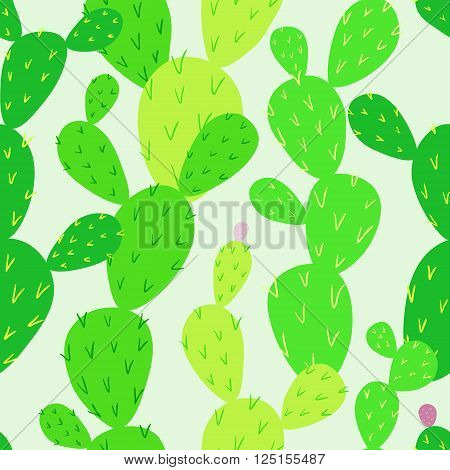 Opuntia cactus. Desert flora. Endless cactus. Vibrant colors. Vector seamless pattern, eps10.