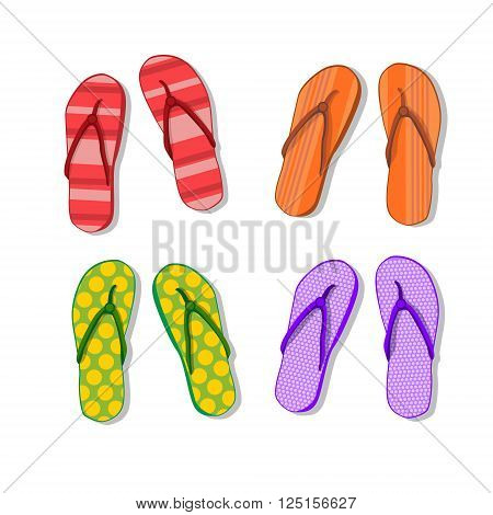 Flip Flops Icon Summer Slippers Foot Wear Set Collection Flat Vector Illustration