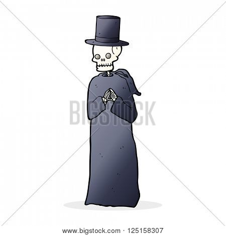 cartoon spooky skeleton wearing robe and top hat