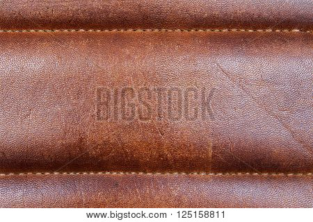 Closeup of reddish brown leather texture. Mock up