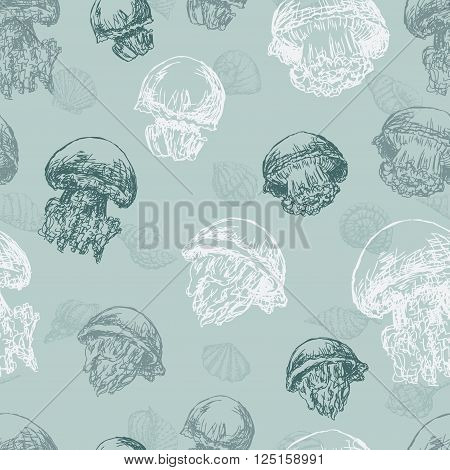 Vector pattern of the hand drawn jellyfishes.