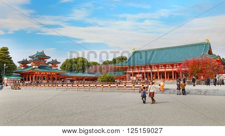 KYOTO JAPAN - NOVEMBER 22 2015: Heian Shrine built in 1895 on the 1100th anniversary of Kyoto. Enshrines Emperor Kanmu who transferred the capital from Nara