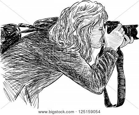 Vector drawing of a girl takes picture.