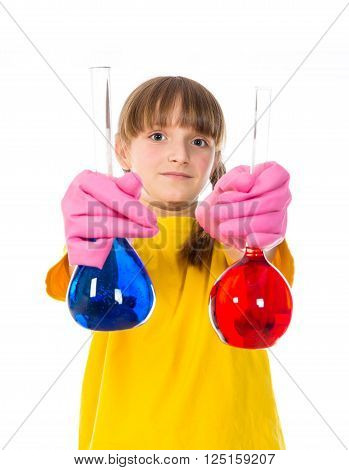 happy little girl wearing pink gloves with red and blue flasks for chemistry isolated on a white background