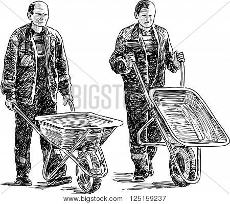 Vector drawing of the workers with the wheelbarrows.