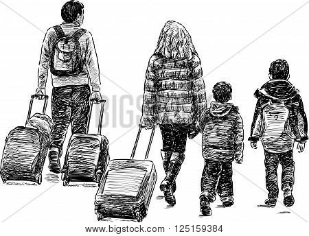 Vector drawing of a young famili in a trip.